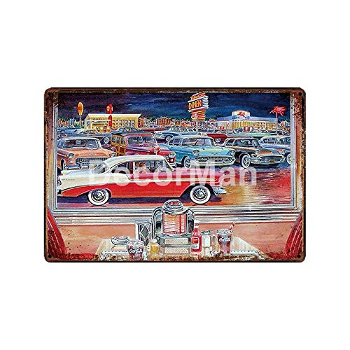 yycsqy Eisenmalerei Zinnmetall Malerei Vintage Metall Wandkunst Blechschilder Plaque Tankstelle Motoröl Metallgemälde Bar Public Decor-Glc-13314_20 * 30cm