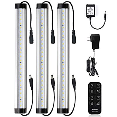 Under Cabinet LED Light Bar Kits Remote Control - Albrillo Dimmable 12 inch Light Bars Daylight White 5000K, 900 Lumen for Kitchen Counters Bookcases, 3 Kit