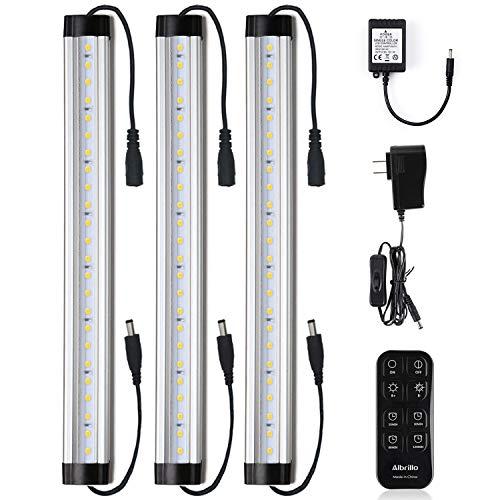 Kit de barra de luz LED para debajo del gabinete, control remoto, regulable, 12 pulgadas, barras de luz de día, luz blanca 5000 K, 900 lúmenes para mostradores de cocina, estanterías, 3 kits