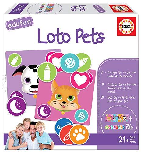 Educa - Edufun Loto Pets Juego de mesa para niños: Aprende a cuidar de tu mascota, a partir de 24 meses (18125)