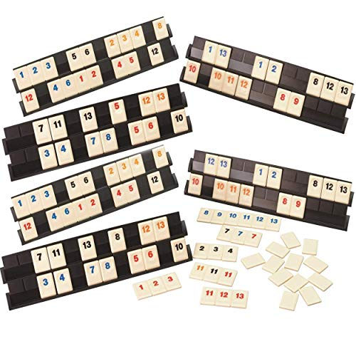 160 Tiles Deluxe Rummy for 6 Players Includes 4 Colors, Orange, Red, Black & Blue