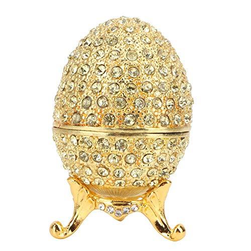 Hilitand Esmalte Huevo de Pascua Organizador de Joyas Faberge Estilo Vintage Huevo Esmaltado Diamante Trinket Caja Decoración Regalo