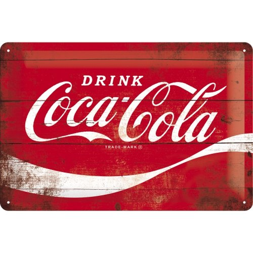 Nostalgic-Art Targa Vintage Cola – Logo Red Wave – Idea Regalo per Amanti della Coca, in Metallo, Design Retro per Decorazione, 20 x 30 cm