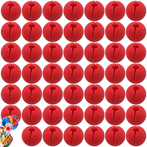 SUSHAFEN 48Pcs Red Clown Nose Foam Circus Comic Nose Mask Party Supplies for Halloween Trick Party Cosplay Costume Magic Dress Party Supplies,5cm/2'