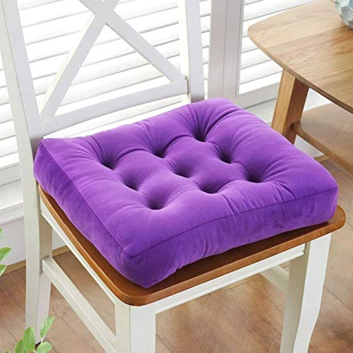 ZZTX Solid Color Square Seat Cushion,thicken Soft Plush Durable Chair Cushion For Floor Pillow Indoor Tatami Cushion-purple 40x40cm