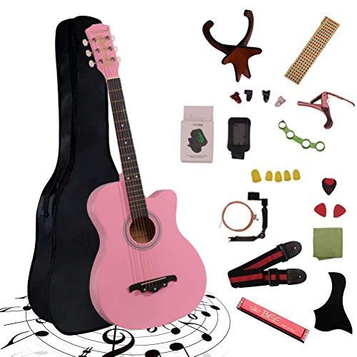 アコースティックギター 初心者25点入門セット ギター 弦 ストラップ チューナー ケース付き(ピンク)