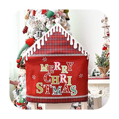 Hopereo Decoración de mesa de Navidad para silla de restaurante cubierta de Año Nuevo Decoraciones de la silla cubierta trasera de la silla de la decoración de Navidad para el hogar-61 x 48 cm