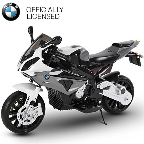 BAKAJI Moto Elettrica per Bambini BMW S1000 RR Grigia 12V con Chiave Accensione Doppia Velocità 2 Motori Ruote EVA Licenza Ufficiale BMW
