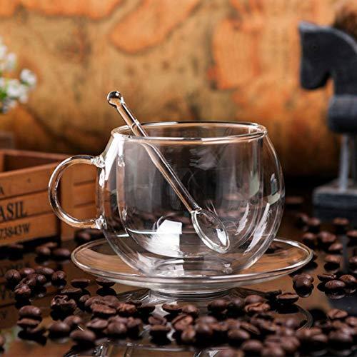 Copas De Champán, Tazas, Regalos Bodum Designer Glass Anti Scald Coffee Cup Platillo Juegos Cafe Pu'Er Oolong Taza De Té Perfumada Heat Drinkware