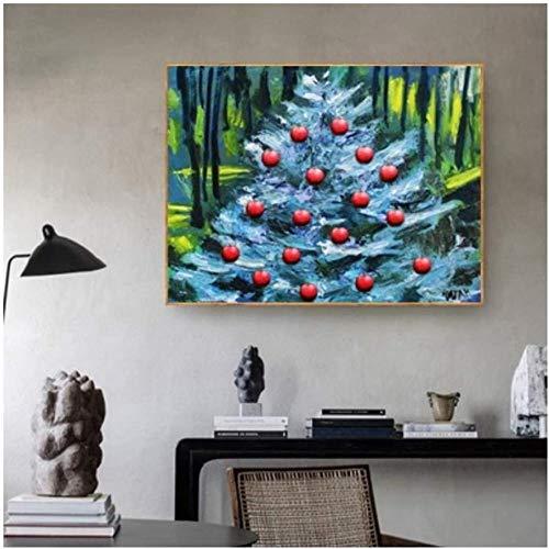 Canvas print,Decoraties woonideeën Appelboom Pop Art Kunstwerken Prettige vakantie Poster Home Decor Wall Art Decor-60x80cm