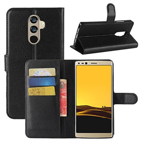 Doogee Mix 2 Case, Fettion Premium PU Leather Wallet Flip Phone Protective Case Cover with Card Slots and Magnetic Closure for DOOGEE Mix 2 Smartphone (Wallet - Black)