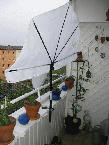 Balkonfächerschirm - Farbe Natur/Weiss -