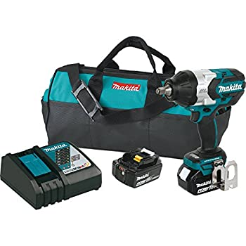 Makita XWT08M LXT Lithium-Ion Brushless Cordless High Torque Square Drive Impact Wrench with Friction Ring Anvil Kit 18V/1/2