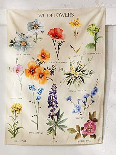 N / A Planta Tapiz de Flores Silvestres Colgante de Pared Mapa de Referencia de Flores Hippie Tapiz Bohemio Colorido psicodélico INS decoración del hogar Tela de Fondo A4 100x150cm