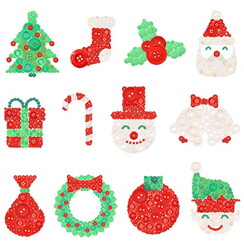 Rustark 1000Pcs Christmas Resin Buttons Favorite Findings Basic Button 2 and 4 Holes Craft Buttons for DIY Crafts Sewing Christmas Party Decorations (Red, Green and White)