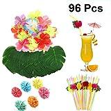 UPKOCH 108 piezas Hawaiian Party Decoración Set Artificial Tropical Palm Leaves Hawaiian Hibiscus Flor Plástico Frutas Pajitas Paraguas Cóctel Picks para Hawaiian Party Supplies