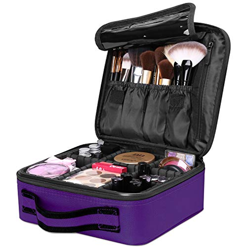 Travel Makeup Box, Luxspire Cosmetic Makeup Case Professional Makeup Train Case Portable Cosmetic Case Makeup Bag Organizer with Adjustable Dividers for Makeup Brushes - Purple