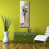 wZUN Hermosa Pintura al óleo Abstracta Gris de Flores en jarrón sobre Lienzo Textura Pesada de decoración de Sala de Estar 60x180 Sin Marco