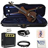 Electric Violin Bunnel NEXT (Clear) Outfit 4/4 Full Size (CARAMEL)- Carrying Case and Accessories Included - Headphone Jack - Highest Quality with Piezo ceramic pick-up