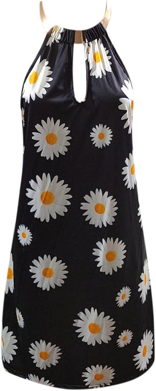 Oiumov Summer Dresses for Women, Women's Sleeveless Floral Fashion Mini Dress Casual Beach Sundress Loose Boho Dress
