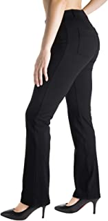 Yogipace, Belt Loops, Women's Petite/Regular/Tall Dress Pant Straight Leg Yoga Work Pants Slacks Back Pockets Office Commute Travel