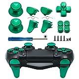 TOMSIN Metal Buttons for PS4 Slim/ PS4 Pro Controller, Aluminum Metal Thumbsticks Analog Grip & Bullet Buttons & D-pad & L1 R1 L2 R2 Trigger for PS4 Controller Gen 2 (Green)