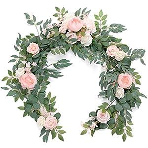 Ling's moment Artificial Eucalyptus Garland with Flowers 6FT, Wedding Table Garland with Flowers Handcrafted Wedding Centerpieces for Rehearsal Dinner Bridal Shower   Blush & Cream