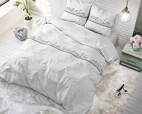 SleepTime Funda Nórdica Algodón Buenas Noches Mi Amor, 240cm x 220cm, 2 Personas, Cama 150/160, Avec 2 taie d'oreiller 60cm x 70cm, Blanco