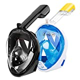 OMEW 2PCS Masque Snorkeling, Masque de Plongée, Intégral Complet Antibuée et Anti-Fuite Lunettes de Plongée, Plein Visage 180° Visible avec la Support pour Caméra de Sport (Noir & Bleu) (Bleu+Noir)