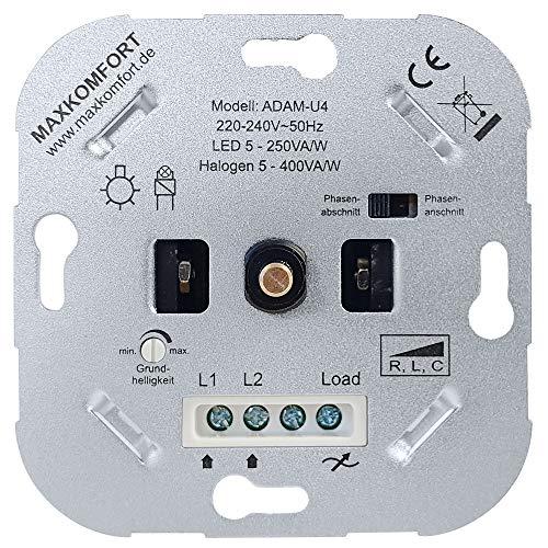 UNIVERSAL Dimmer U4 LED 230V Unterputz R,L,C Dreh-dimmer Einsatz geeignet für LED 5-250W und Halogen 5-400W Druck-Wechselschalter Dimm-schalter