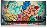 Anna by Anuschka Women's Leather Hand Painted Checkbook Wallet/Clutch   Succulent Dreams, One Size