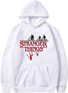 Stranger Things Felpa per Donna Uomo,Stranger Things Friends Dont Lie Bianco Felpa Pullover Hoodie Manica Lunga Maglione per Ragazzo Ragazza