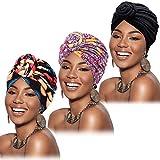 Mudder 3 piezas de turbante africano para mujer pre-atado nudo de flores gorro gorro gorro