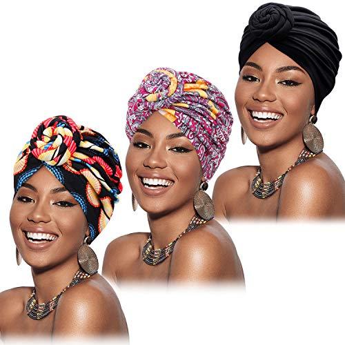 Mudder - Turbante africano da donna, pre-annodato, motivo floreale, 3 pezzi