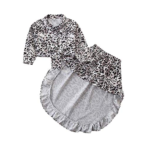 Moneycom❤Toddler Kids Baby Girls Tops Tee Leopard Swallow Tail Jupes Vêtements Tenues Noir(2-3 Ans)