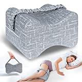 AngQi Knee & Leg Memory Foam Pillow for Side Sleepers with Leg Strap - Relief...