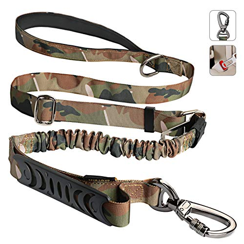 Tactical Dog Leash, Camo Dog Leashes for Medium Large Dogs with Car Seat Belt, 4-5.5 FT Strong Bungee Dog Leash, 4-in-1 Multifunctional Heavy-Duty Dog Leash with Safety Seatbelt