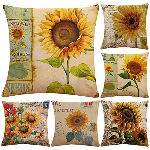 Thmyo Pillow Covers,Polyester Cushion Covers For Sofa Couch Bed 18 X 18 Inch (Cover Only,No Insert) (6 Pack Sunflower)