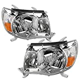 AUTOSAVER88 Headlight Assembly Compatible with 05-11 Toyota Tacoma Pickup Truck OE Style Replacement Chrome Housing Amber Reflector