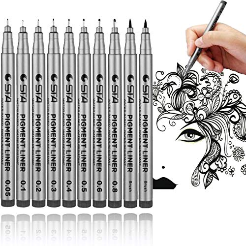Lemical Super Waterproof Black Fineliner Pens 10pcs Archival Ink Micro-pens Fine Point Drawing Pens Paint Pens for Sketching, Anime, Manga, Artist Illustration, Technical Drawing, Bullet Journaling