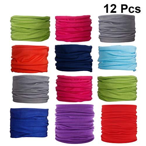 LIOOBO 12 Piezas de algodón Premium sin Costuras a Prueba de Viento Color sólido Cuello Polaina pañuelo para el Invierno Ciclismo al Aire Libre