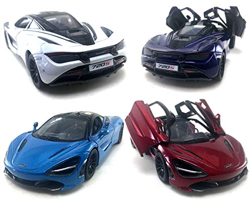 HCK Set of 4 2017 McLaren 720S - Pull Back Toy Sports Cars 1:36 Scale (Red/Indigo/White/Blue)