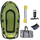 UOHL Bote inflablePesca 2 Personas Barco de Pescado 218 * 110 * 36 cm PVC Bote Inflable Barco de Pesca Kayak Bomba de Paleta Bolsa de Transporte Mochila balsa Ligera-Set B