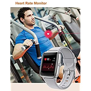 YAMAY Smart Watch Fitness Tracker Watches for Men Women, Fitness Watch Heart Rate Monitor IP68 Waterproof Digital Watch with Step Calories Sleep Tracker, Smartwatch Compatible iPhone (Gray)