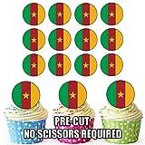 Essbare Cupcake-Topper/Geburtstagskuchen-Dekoration, Motiv: Kamerun-Flagge, vorgeschnittene Kreise, 24 Stück