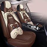 HZWZ Cubierta De Asiento De Automóvil con Set Universal, Cómodo Resistente Al Desgaste A Prueba De Agua, Fácil De Limpiar, Ajuste para Audi A1A3 A4 A6 Ford Fiesta FIAT 500 Golf,Marrón