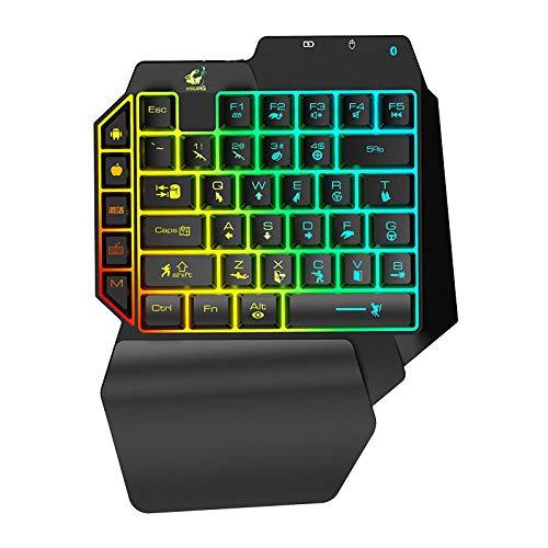 ZQJ Freier Wolf G11-1 Einhand Tastatur Gaming Tastatur, Tasten E-Sport Tastatur, Blaue Schalter, RGB Beleuchtung, mit Magnetisch Abnehmbare Handgelenkauflage