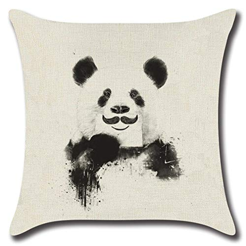 greenwood Smile Panda Pattern Throw Pillow Cover, Linen Cushion Pillowcase with Invisible Zipper for Home Decorative 18x18Inch