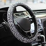 Hzran Steering Wheel Cover, Universal 15 Inch Auto Car Steering Wheel Cover, SUV Anti Slip Wheel Protector, Cute Car Steering Wheel Cover for Women, Lady.(Snow Leopard)