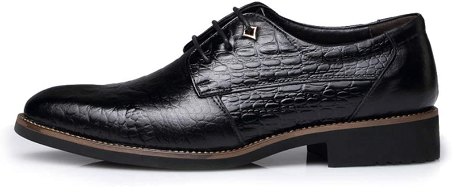 Crocodile Pattern Leather shoes Lace-Up Soft Sole Minimalism Men's Business Casual Walking shoes